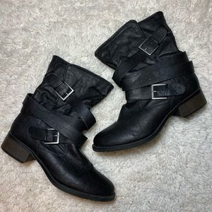 Candies Black Ankle Boots Strap Buckle 10
